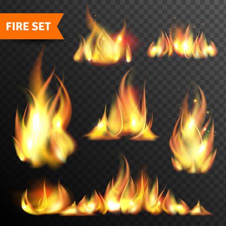 Vreugdevuur vlammen in verschillende maten en vormen pictogrammen collectie tegen zwarte nacht achtergrond abstract geïsoleerde vector illustratie