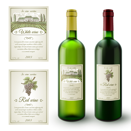 Wine realistic bottles and paper sticky labels set isolated vector illustration Illustration