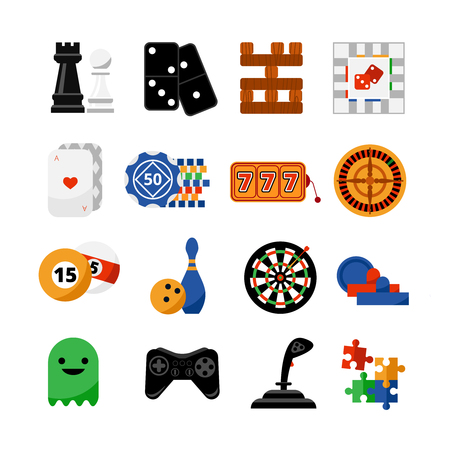 roulette online: Traditional and popular electronic internet  gambling games of fortune symbols  flat icons set abstract isolated vector illustration Illustration