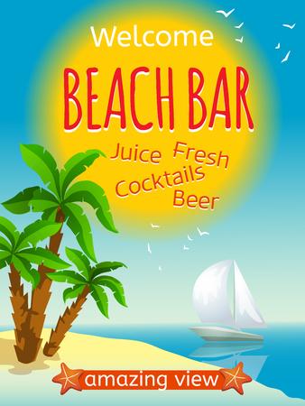 cartel de bar en la playa con el yate cócteles de zumos frescos y dibujos animados ilustración vectorial cerveza