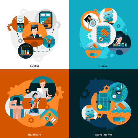 comfort: Resort hotel services icons set with comfort leisure health care and active lifestyle  flat isolated vector illustration