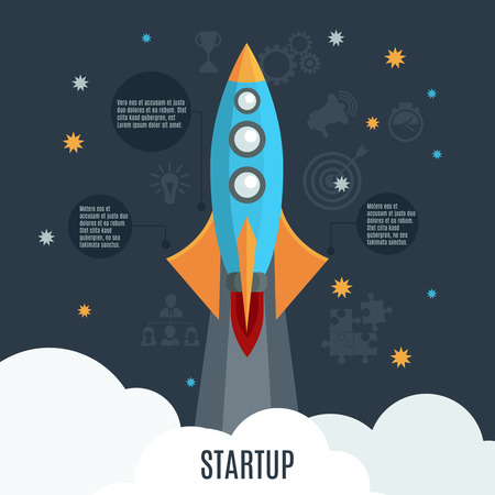 Business startup project launch poster design with retro rocket symbol and informative text circles abstract vector illustration