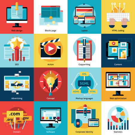 seo process: Creative process concept square icons set with advertising action and working online flat isolated vector illustration