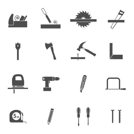 serrucho: Herramientas de carpinter�a para los iconos negros de construcci�n de viviendas de madera fijados con serrucho y el martillo abstracto vector ilustraci�n aislada
