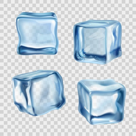 cubo: Realista azul cubitos de hielo sólido en el fondo transparente ilustración vectorial