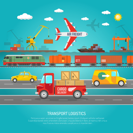 Worldwide operating logistics company cargo transportation and delivery service concept flat banner abstract vector illustration