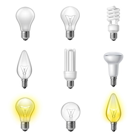 Low energy fluorescent halogen and commonly used different types light bulb realistic pictograms set collection vector illustration Çizim