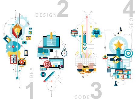 Creatieve proces begrip set met SEO ideeën en ontwerpen platte geïsoleerde vector illustratie verticale banners