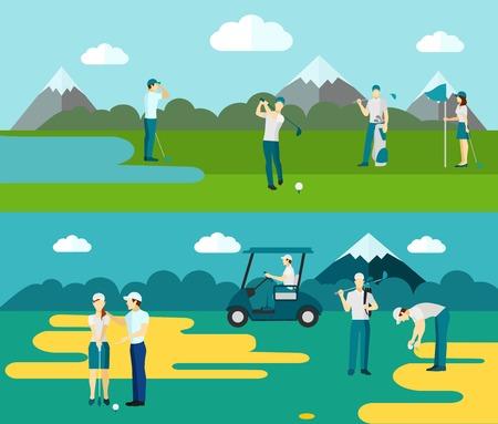 人気のある屋外ボールとクラブ スポーツ ゴルフ場プレーヤー抽象的な分離ベクトル イラスト 2 フラット バナー