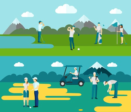 golf field: Popular outdoor ball and club sport 2 flat banners with golf course players abstract isolated vector illustration