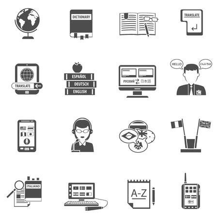辞書フラットスタイルの白黒アイコンを持つ多言語翻訳システムと通訳者が孤立ベクトルイラストを設定