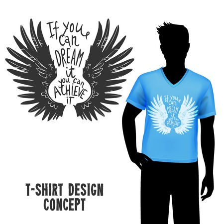 hand drawn wings: Male figure in blue t-shirt with sketch wings design and lettering vector illustration
