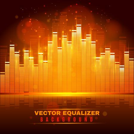 componentes: Señales de audio modificación y reproducción con pantalla de ecualizador digital de sonido de luz de onda desdibuja resumen de antecedentes ilustración vectorial