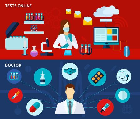 Medical laboratory analysis tests online 2 flat banners set with doctor treatment options abstract isolated vector illustration