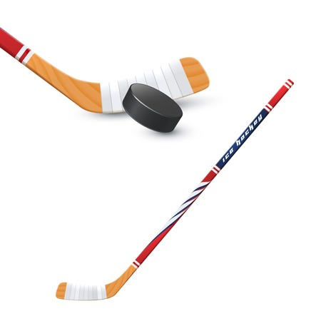 hockey puck: Ice hockey sport wooden stick and puck realistic vector illustration