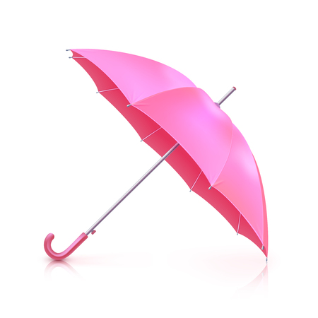 Realistic pink girlish umbrella isolated on white background vector illustration