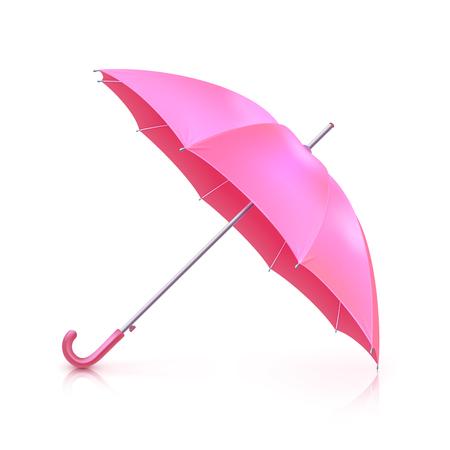 Realistic pink girlish umbrella isolated on white background vector illustration