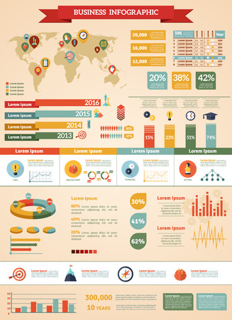 mapa de procesos: Business strategy infographic set with map percentage and figures flat vector illustration Vectores