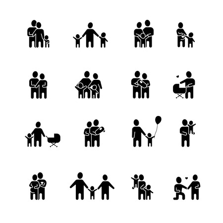 Family black white icons set with man woman and children flat isolated vector illustration Vettoriali