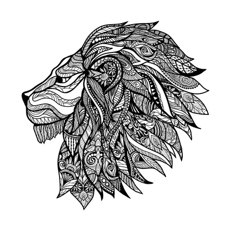 lion dessin: Tiré par la main la tête de lion décoratif avec ornement floral illustration vectorielle