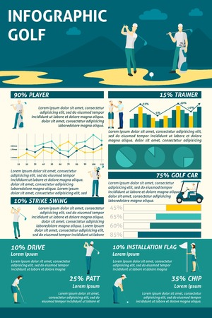 golf swing: Golf infographics set with sport symbols and charts vector illustration