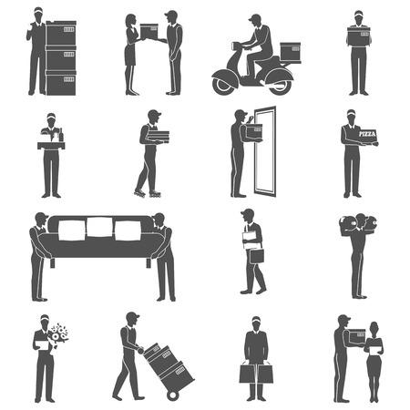cartero: Iconos negros de la industria de entrega establecidos con figuras masculinas aisladas ilustración vectorial