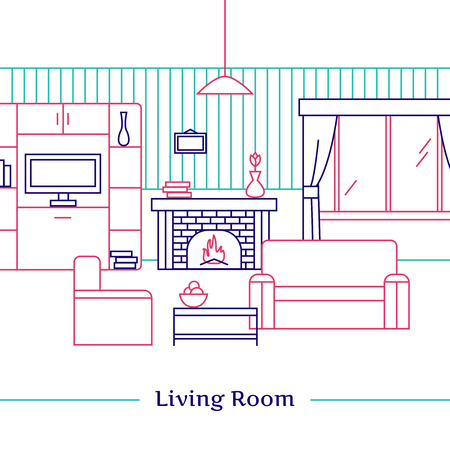 armchair: Living room line design with fireplace armchair  sofa and TV flat vector illustration
