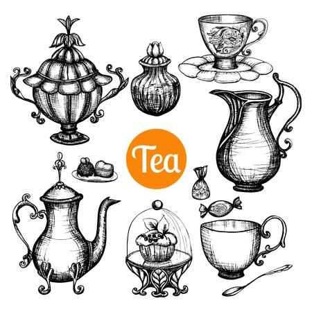and antique: Dibujado a mano de t� retro establece con aislados torta de la taza tetera ilustraci�n vectorial