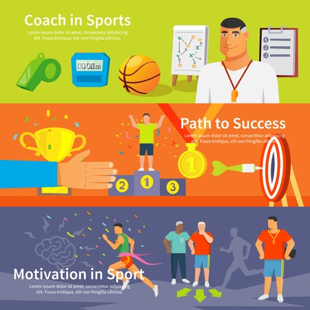 sports: Coaching horizontal banner set with coaching elements isolated vector illustration