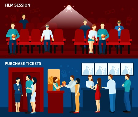 movie director: Movie theater film show and  tickets passes reservations payment line 2 flat banners set abstract vector illustration