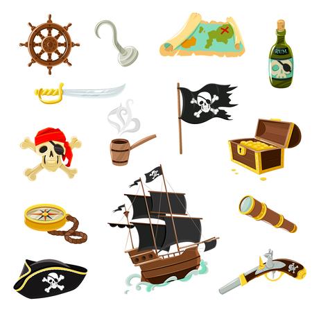 calavera pirata: Accesorios de pirata colección Iconos plana con cofre del tesoro de madera y alegre negro bandera roger ilustración abstracta