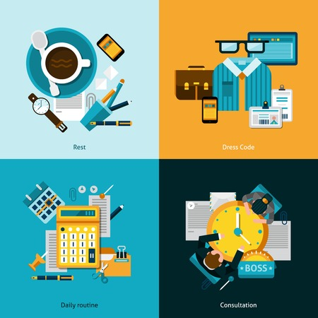 routine: Office design concept set with daily routine flat icons isolated vector illustration