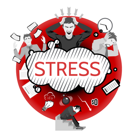Concetto di stress con i simboli fallimento aziendale e le persone depresse illustrazione vettoriale piatta