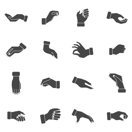 cogidos de la mano: Palmas de las manos gestos de acaparamiento de toma y sosteniendo algo negro siluetas colección de iconos de vector abstracta ilustración aislada