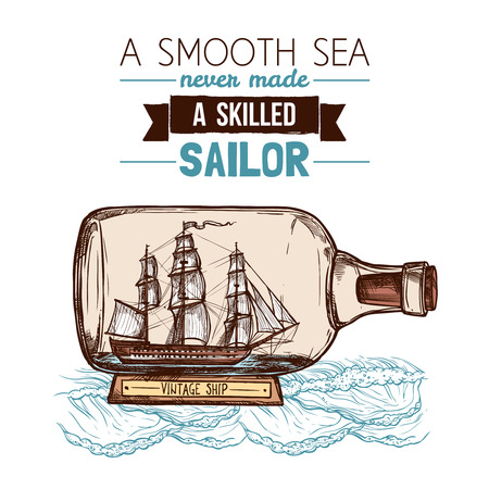 ships: Old vintage sailboat or ship model in glass bottle with text flat color sketch concept vector illustration