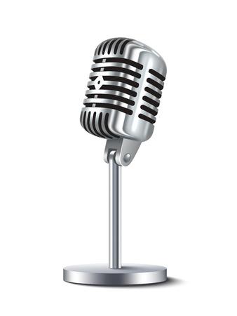 microfono antiguo: Micrófono del estudio de metal de la vendimia aislado en el fondo blanco ilustración vectorial