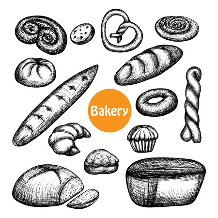 baked goods: Hand drawn bakery set with bread and pastry isolated vector illustration