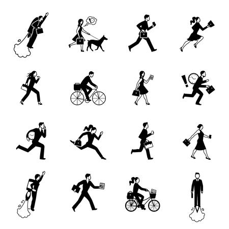 figura humana: Iconos planos monocromáticos conjunto de prisa los hombres y mujeres de negocios en trajes aislados ilustración vectorial