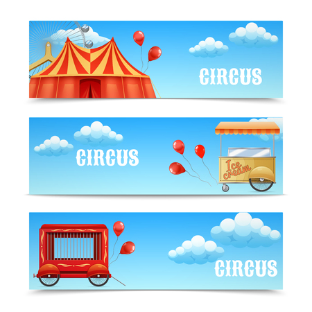 wagon wheel: Three horizontal circus banners with arena Ferris wheel balloons Cage Wagon Ice Cream Cart isolated vector illustration