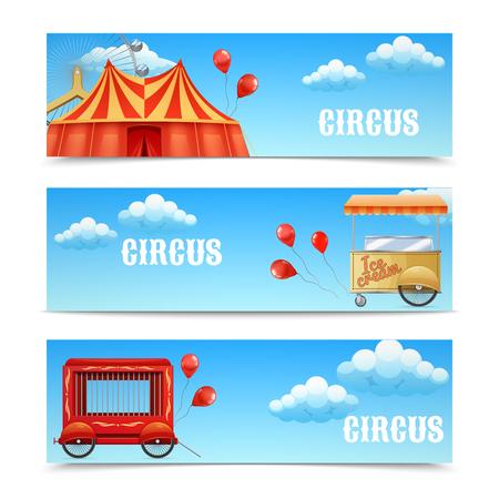 ice cream cart: Tre banner circo orizzontali con arena Ferris palloncini ruote Cage Wagon gelato Carrello illustrazione vettoriale isolato