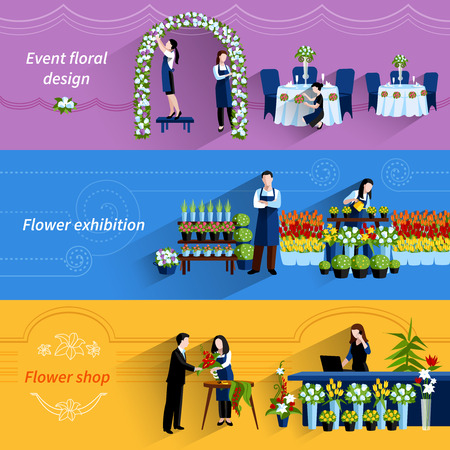 exhibition hall: Flower arrangements for special events and retail shop service 3 flat banners set abstract vector isolated  illustration