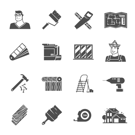 hammer drill: Renovation black icons set with hammer drill and worker avatar isolated vector illustration
