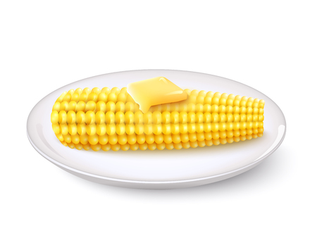 butter: Realistic corn cob with butter on white saucer vector illustration
