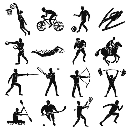 deportes colectivos: Sport people and athletes sketch black figures set isolated vector illustration Vectores
