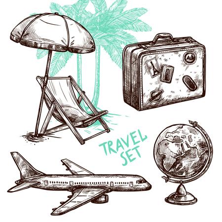 valigia: simbolo Valigia globo aereo e lettino sotto la palma schizzo icona decorativo set isolato illustrazione vettoriale Vettoriali