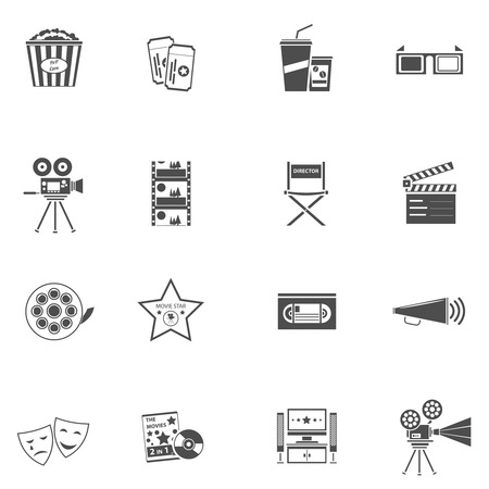 film tape: Movie icons black set with filmstrip tv and popcorn isolated vector illustration Illustration
