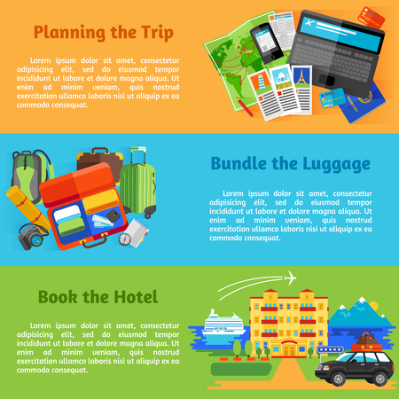hotel booking: Summer vacation travel planning with hotel booking pictograms 3 horizontal flat banners set abstract isolated vector illustration