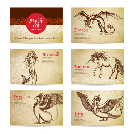 medieval woman: Mythical creatures hand drawn cards set with dragon mermaid and unicorn isolated vector illustration