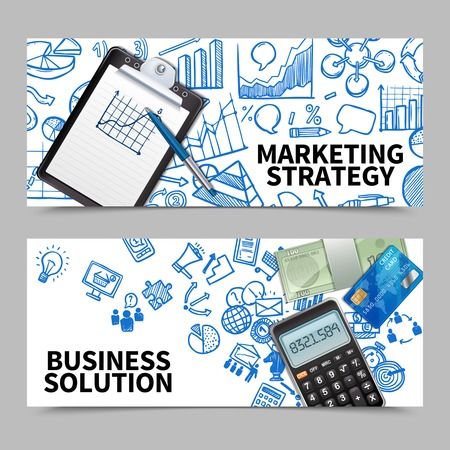 marketing strategy: Marketing strategy and business solution horizontal banner set isolated vector illustration Illustration