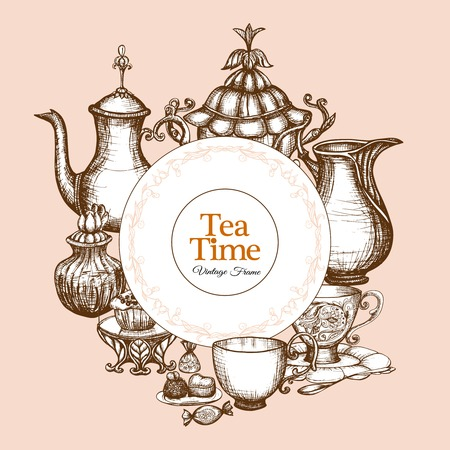 morning tea: Vintage tea frame with traditional sketch kitchen utencil vector illustration Illustration
